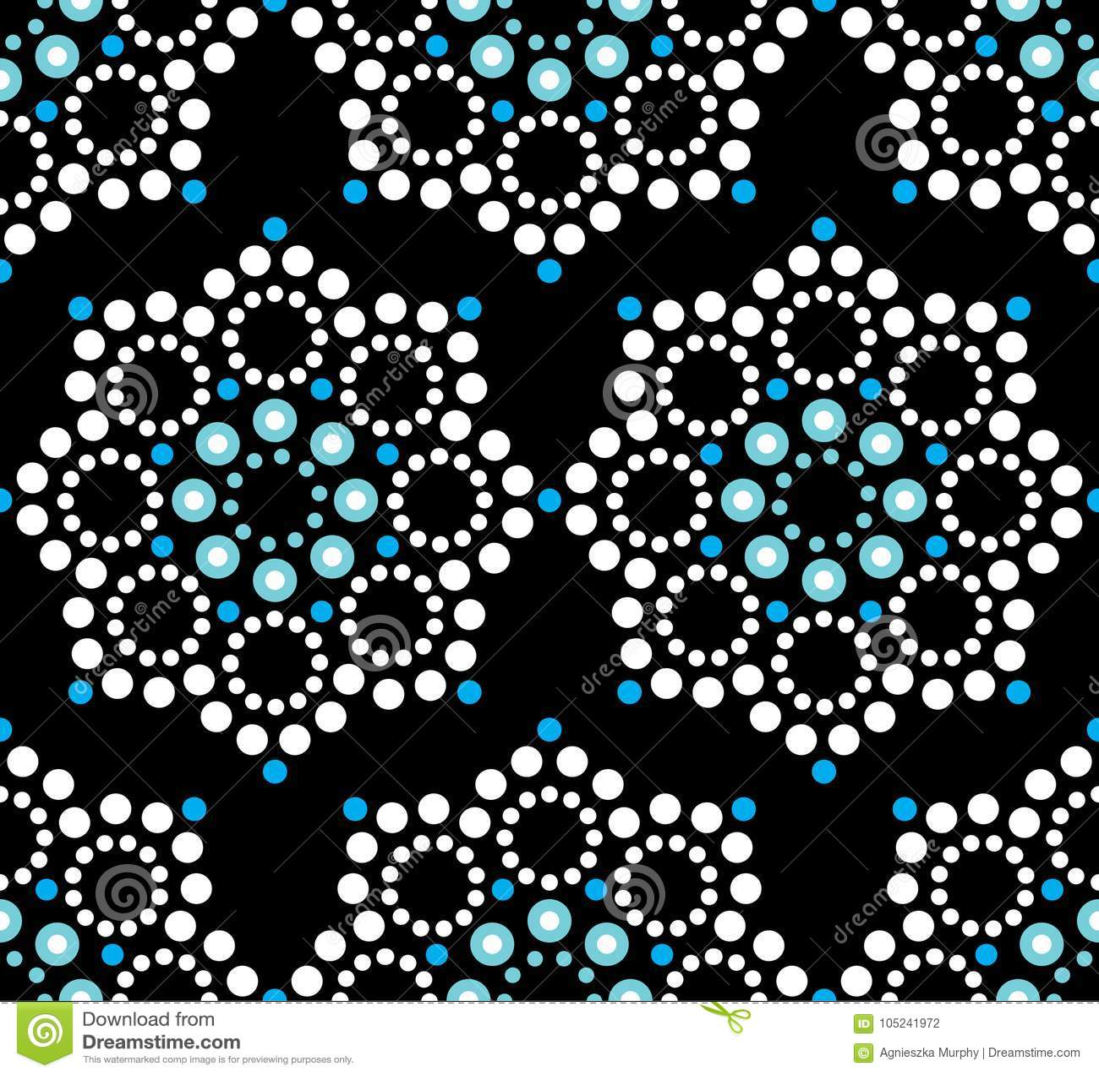 Seamless Pattern Aboriginal Dot Painting Mandala Repetitive Design