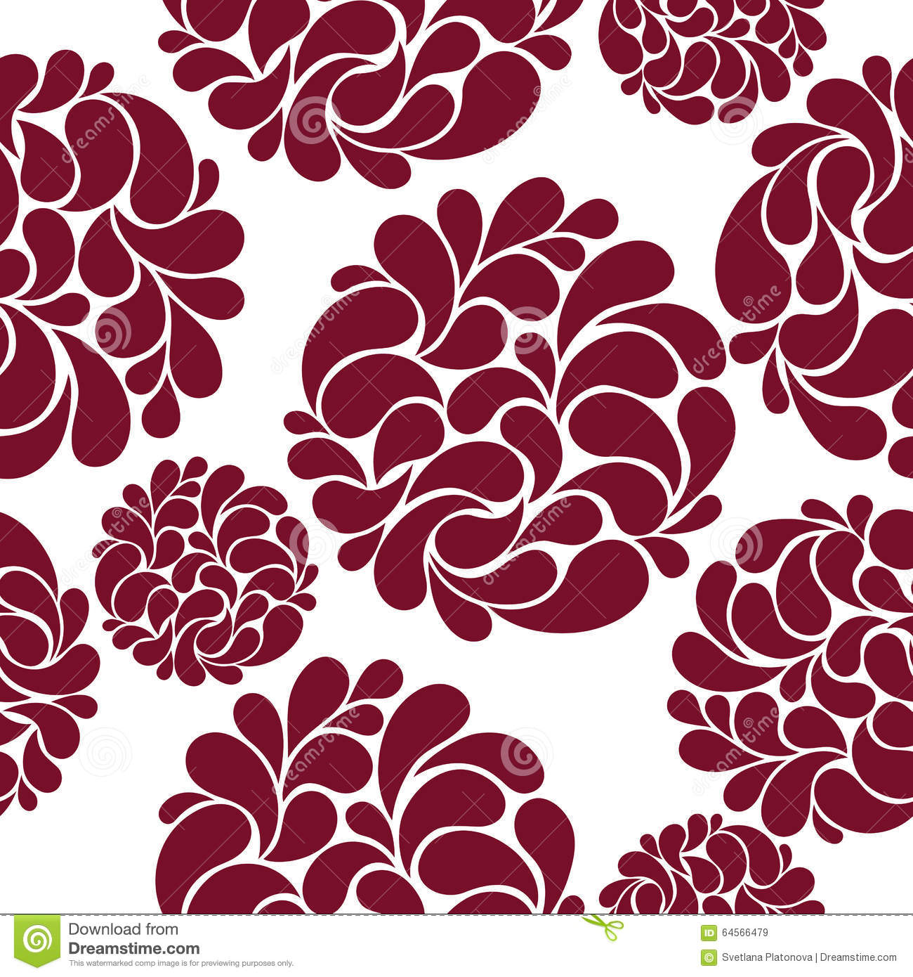 Seamless Pattern With Abstract Burgundy Flowers Stock Vector ...