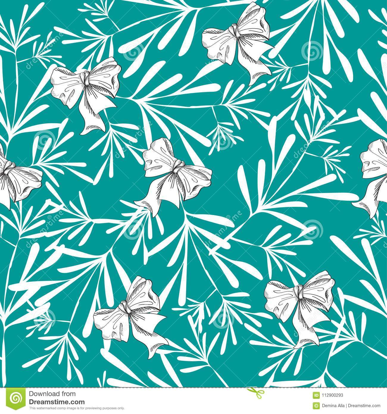 Seamless Pattern With Pretty Flowers And Bows On Blue Stock