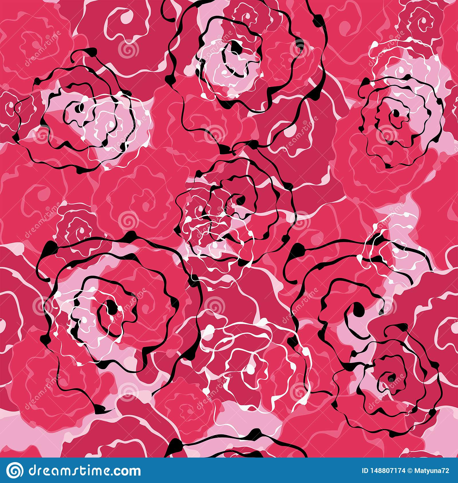 Seamless Pattern Of Abstract Flowers Roses For Design Backgrounds