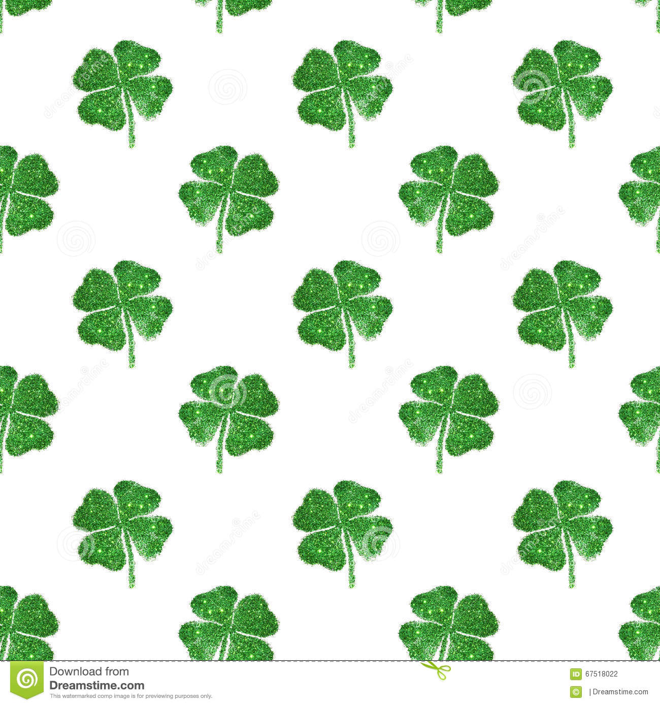 seamless pattern of abstract four leaf clovers of green glitter