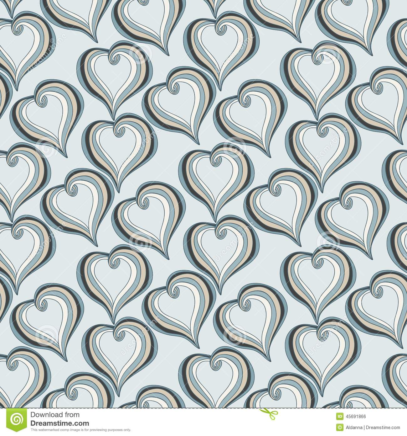 seamless pattern with abstract grey hearts stock vector