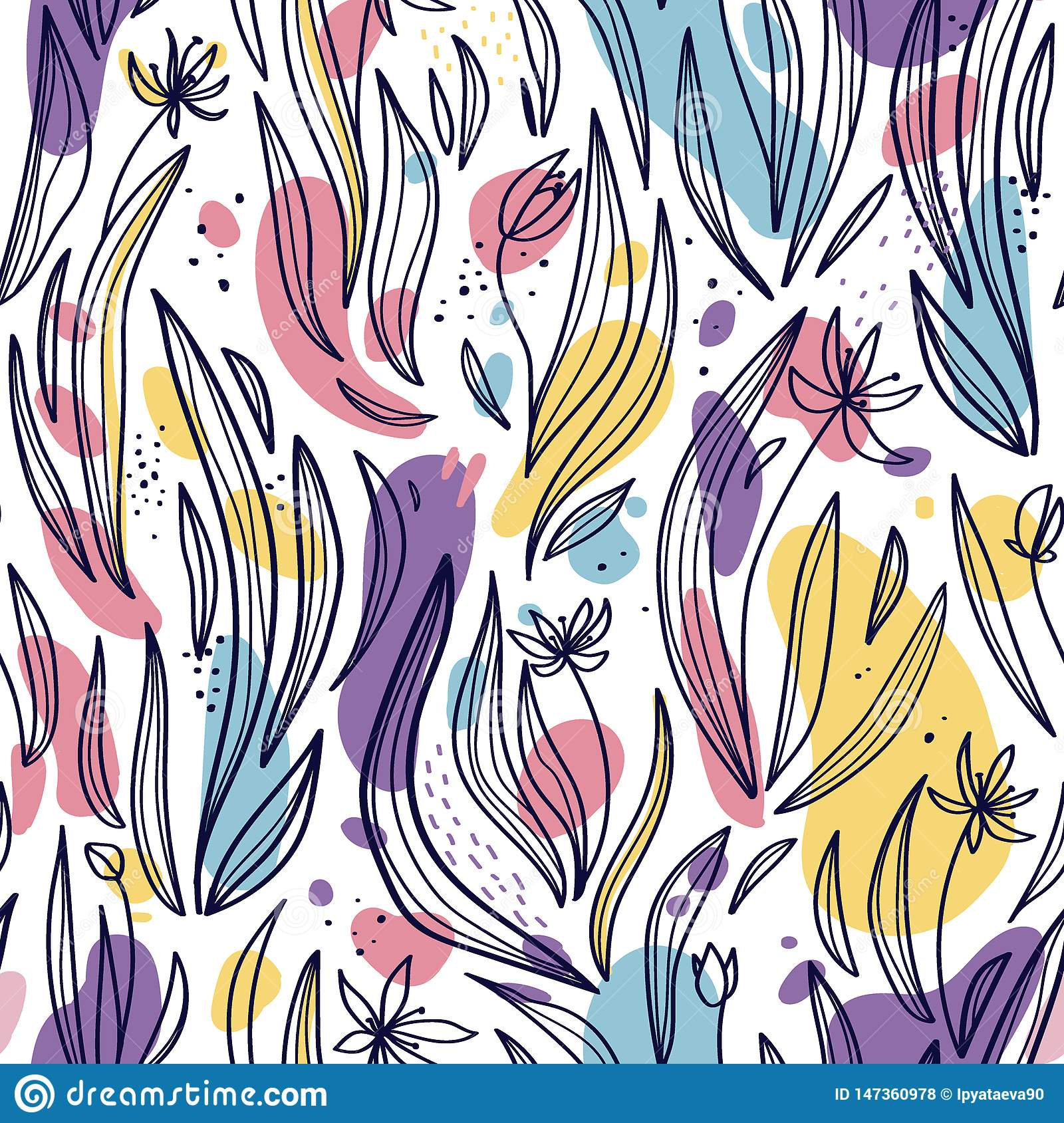 Seamless pattern of abstract leaves, flowers and spots on a white background