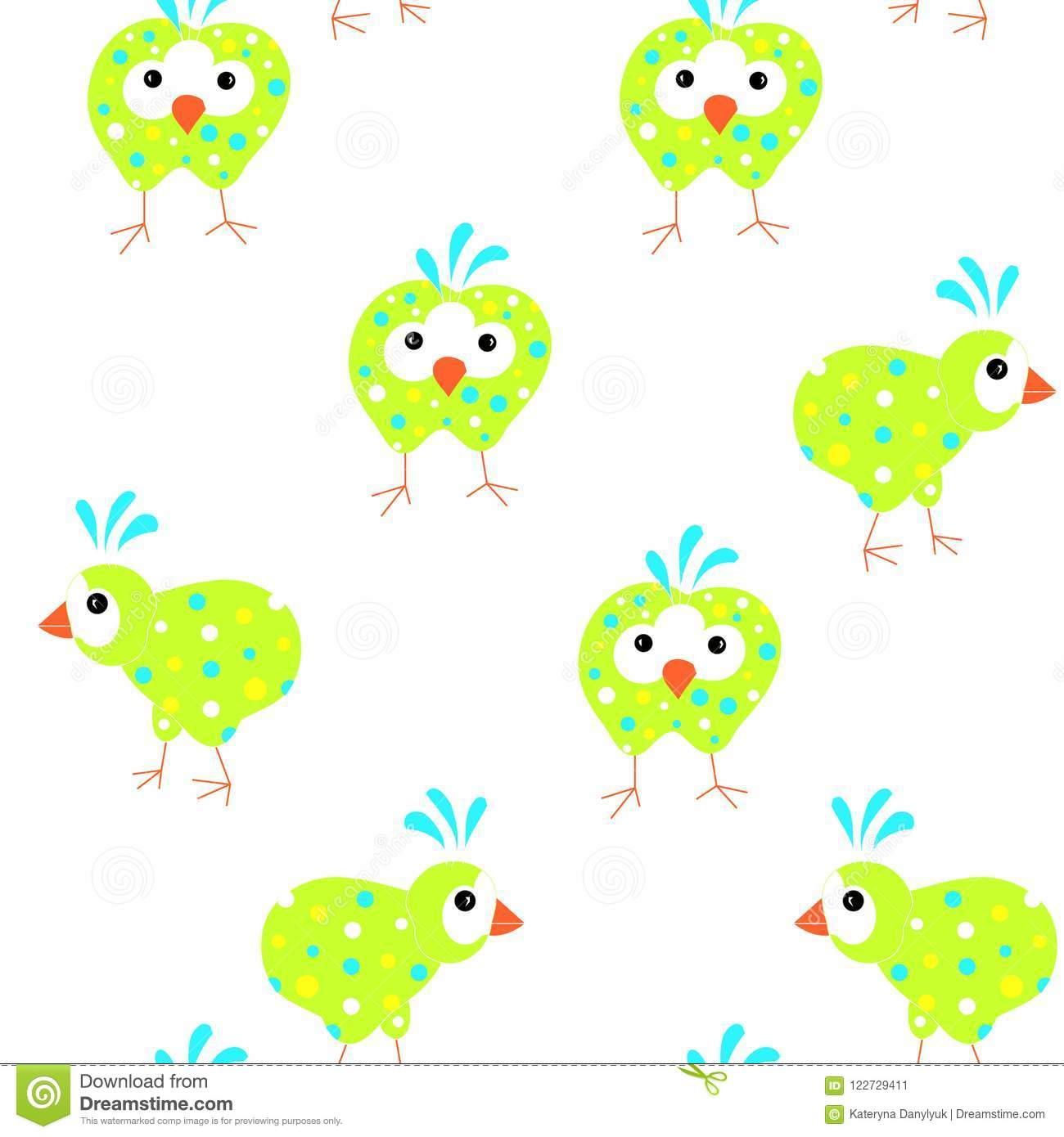 Seamless Pattern Of Abstract Sketch Funny Cartoons Coloring Birds ...