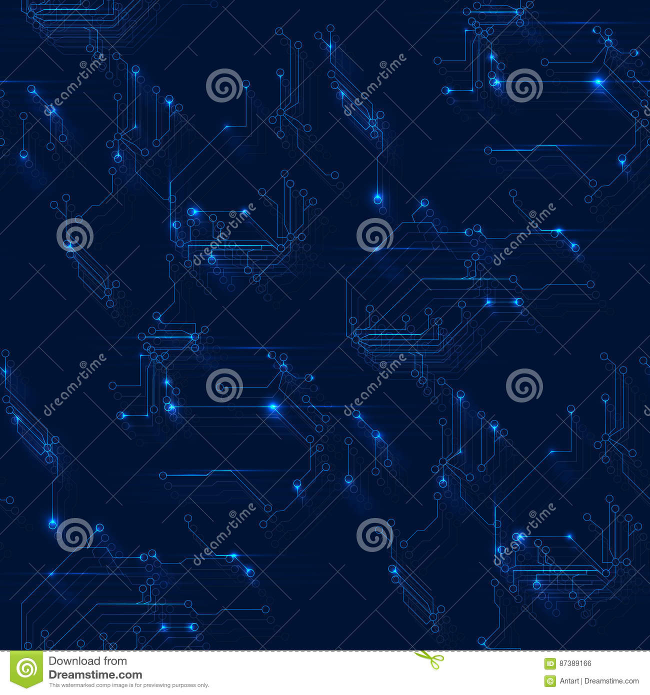 Seamless pattern of abstract vector background with high tech circuit board elements