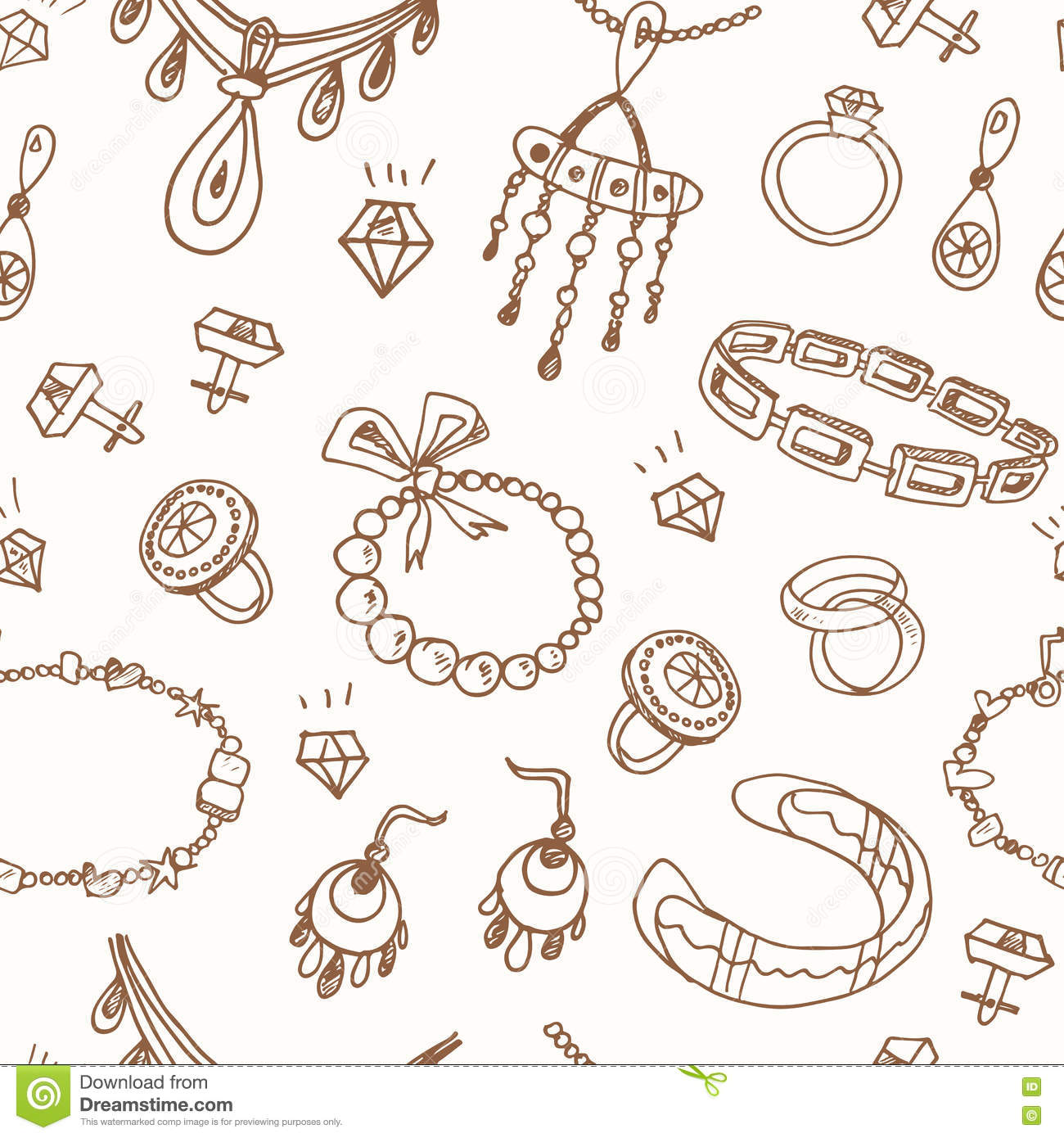 Seamless Pattern With Accessories Sketch Icon Set. Vintage ...