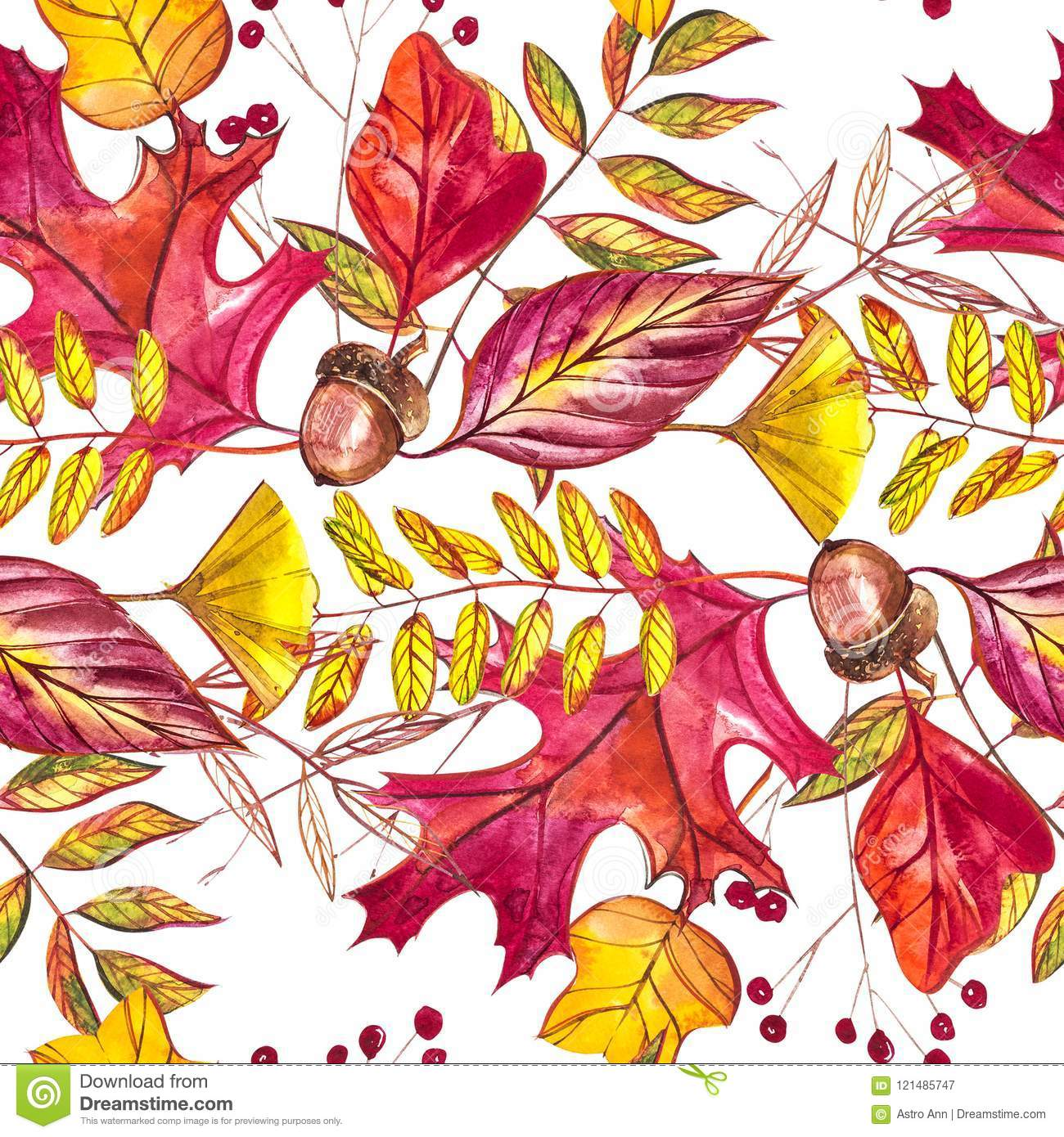 Seamless Pattern With Acorns And Autumn Oak Leaves In Orange Beige