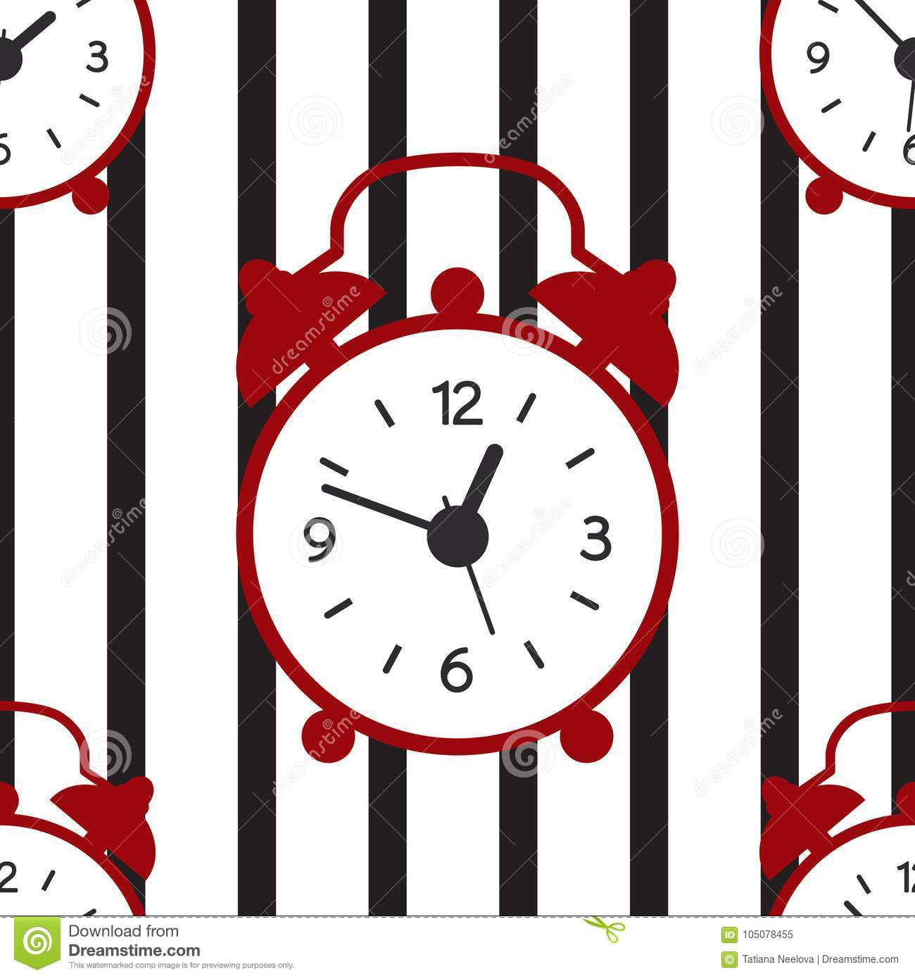 A seamless pattern with alarm clock and stripe lines.