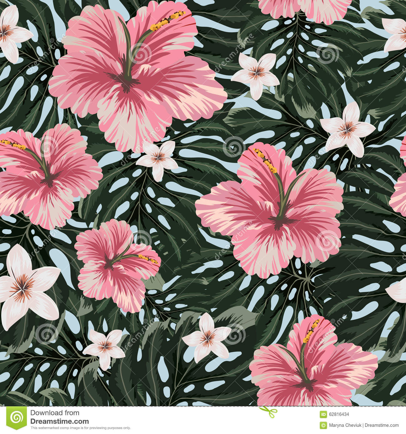 seamless pattern with amazing hawaiian flowers. stock illustration, Natural flower