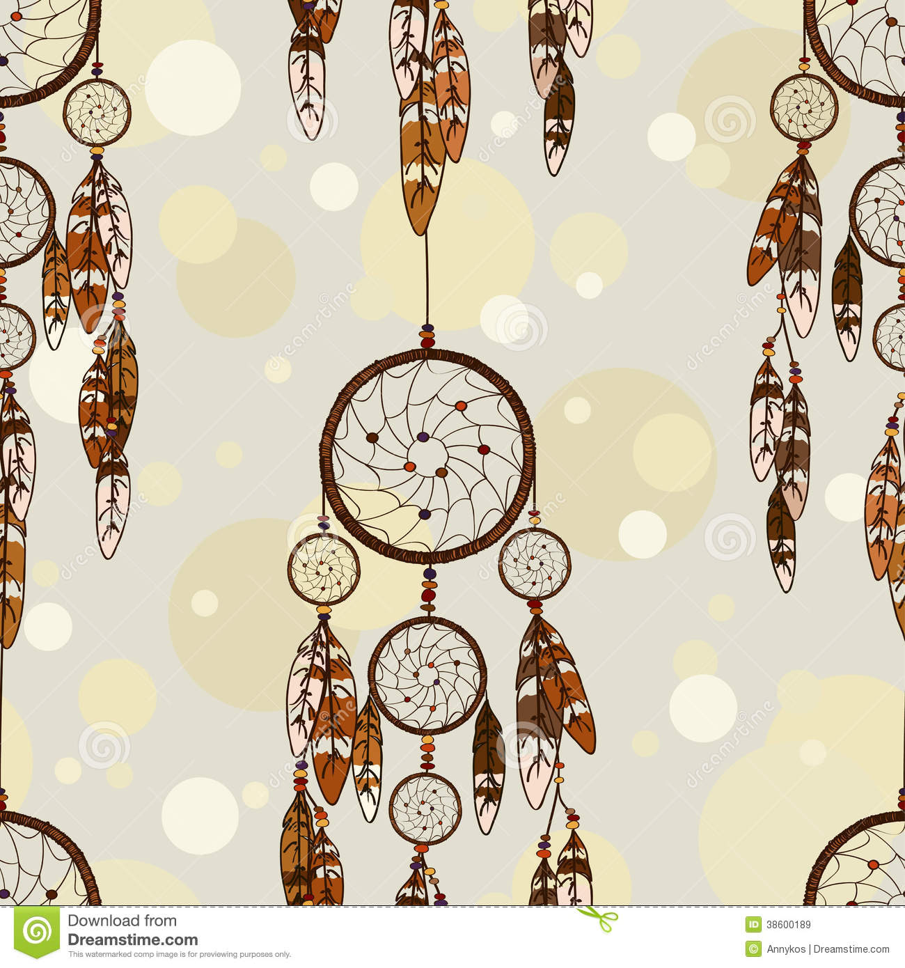 Seamless Pattern Of American Indians Dreamcatcher Royalty Free Stock ...