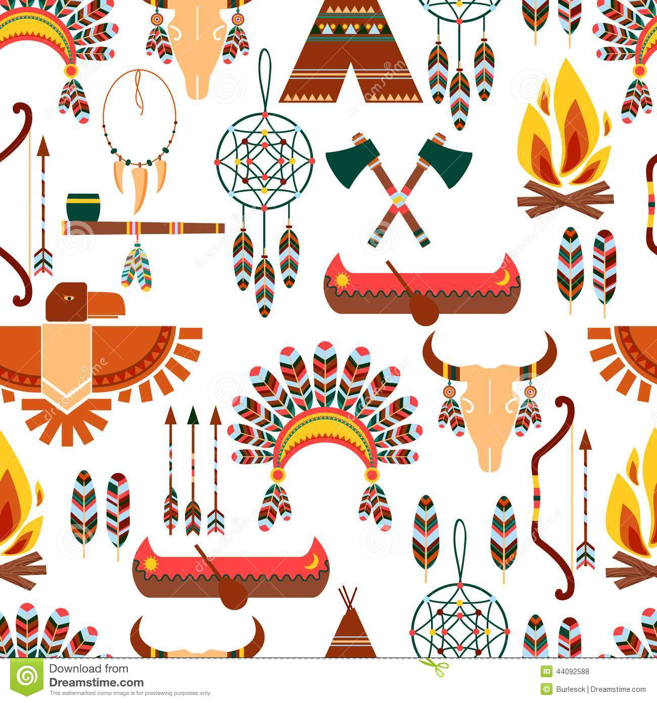 Seamless pattern american tribal native symbols stock for Different design