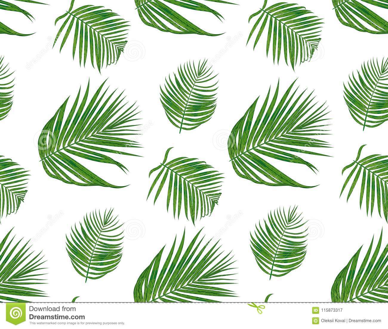 Seamless Pattern With Areca Palm Tropical Seeded Branch Green L Stock Vector Illustration Of Plant Floral 115873317