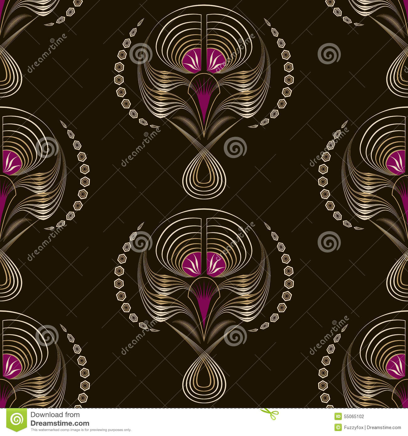 Seamless pattern art deco graphic ornament floral stylish for Deco graphic