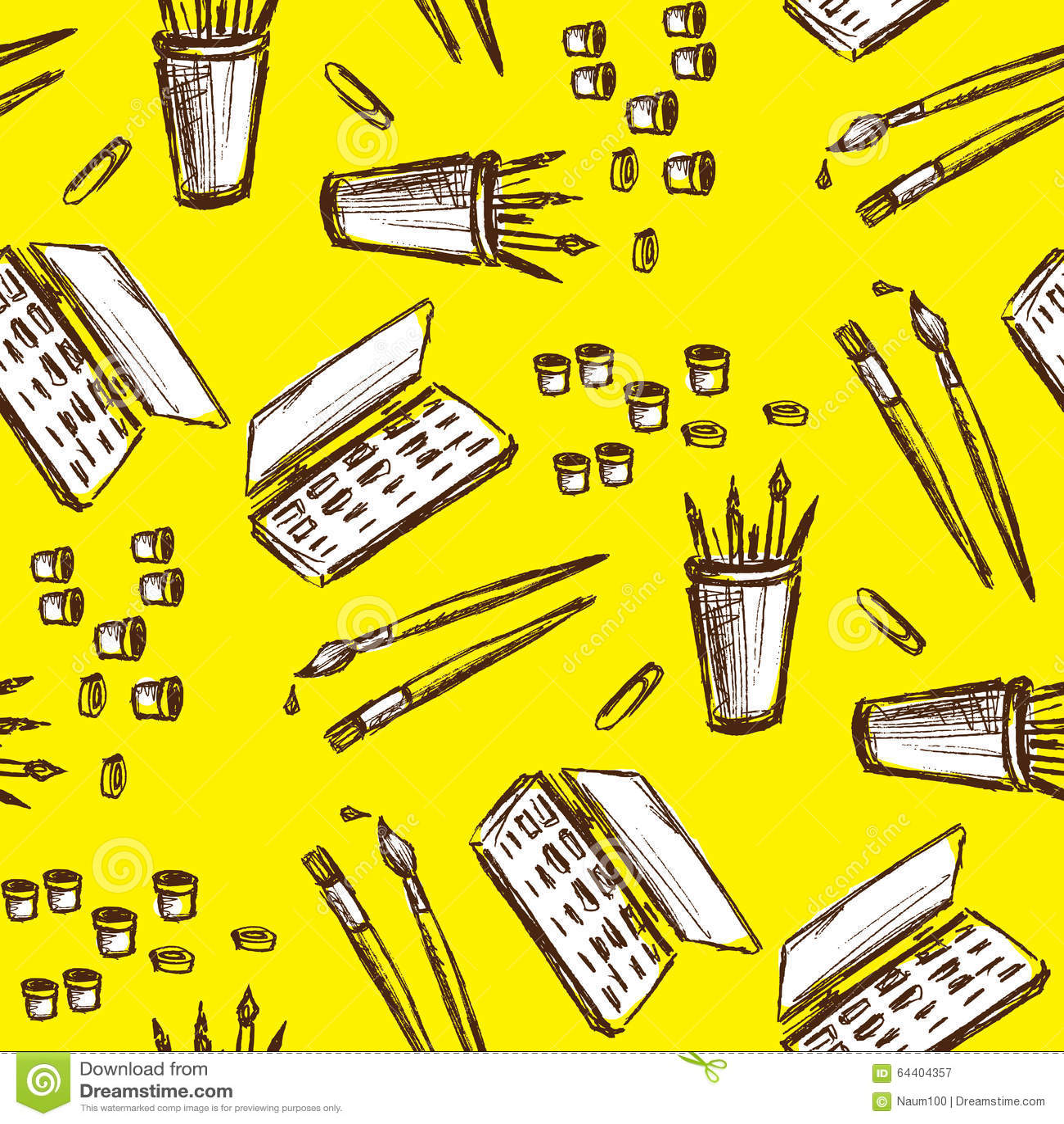 Seamless pattern art tools hand drawing