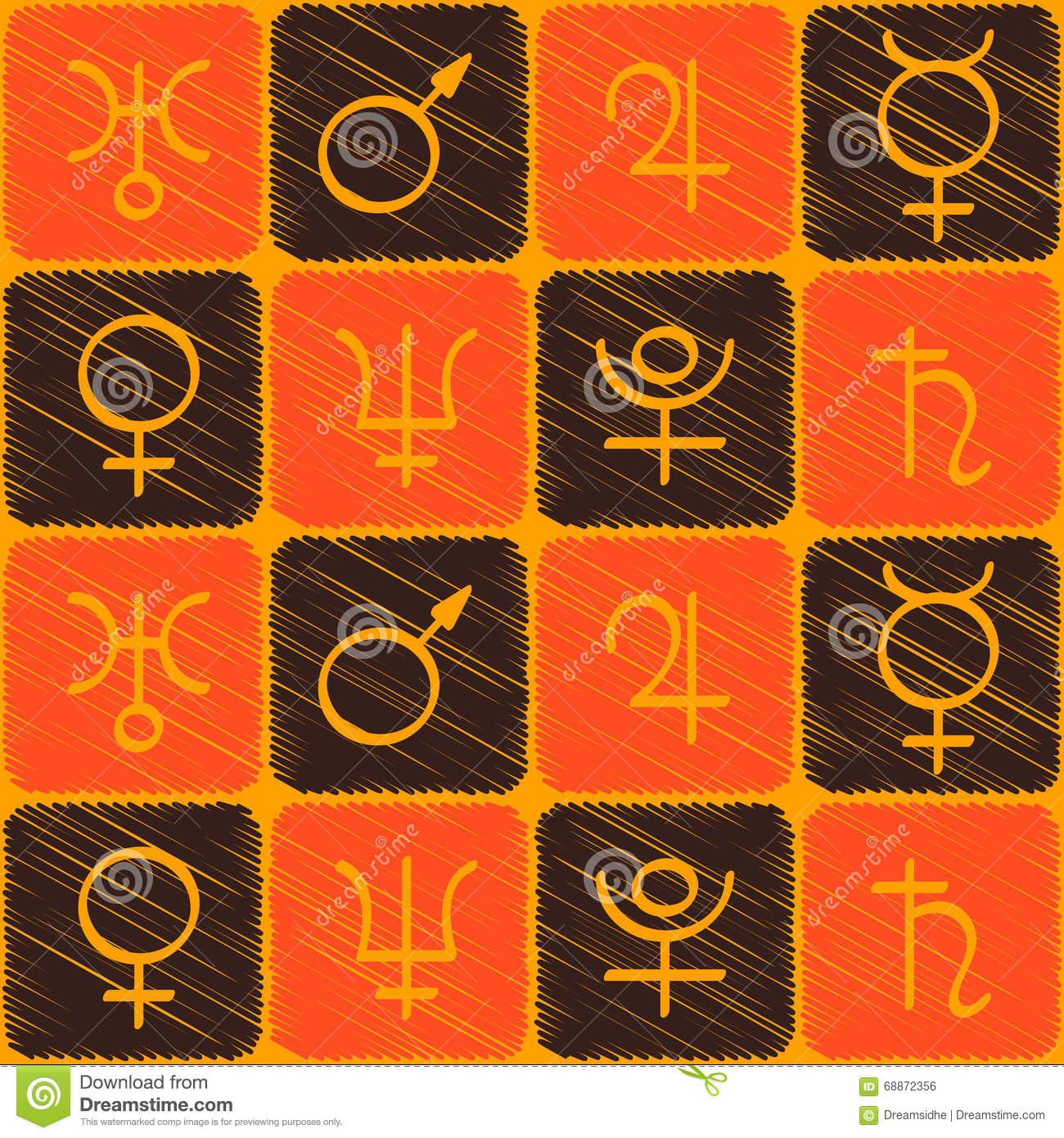 Seamless Pattern With Astrology Symbols Planets Stock Vector