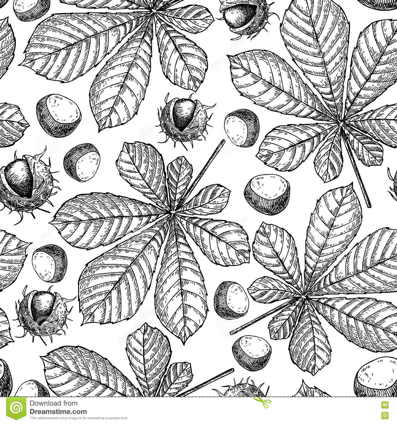 Seamless Pattern With Autumn Leaves. Chestnut Leaf Stock Vector ...