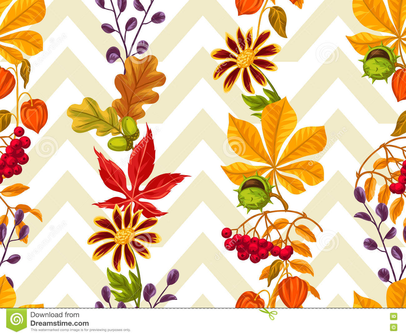 Seamless Pattern With Autumn Leaves And Plants Stock Vector