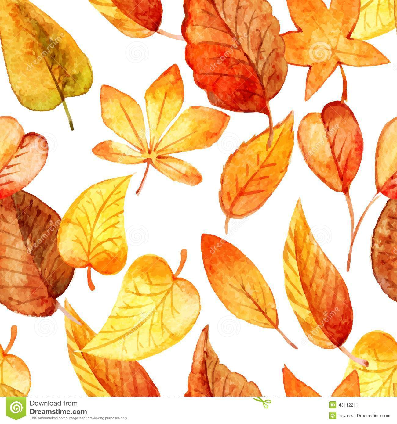 Fall Leaf Watercolor Patterns - Patterns Kid