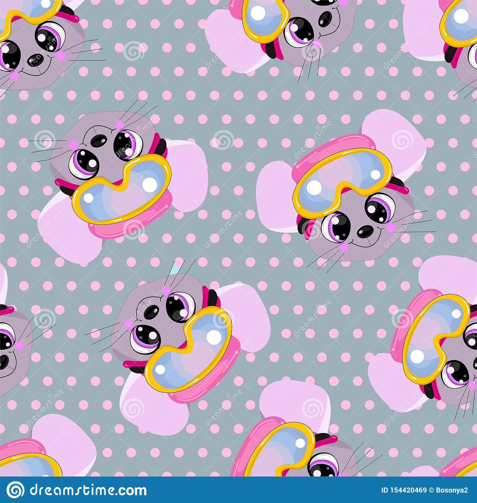 Seamless pattern for baby clothes. podnunki, undershirts and diapers with cute animals in polka dots