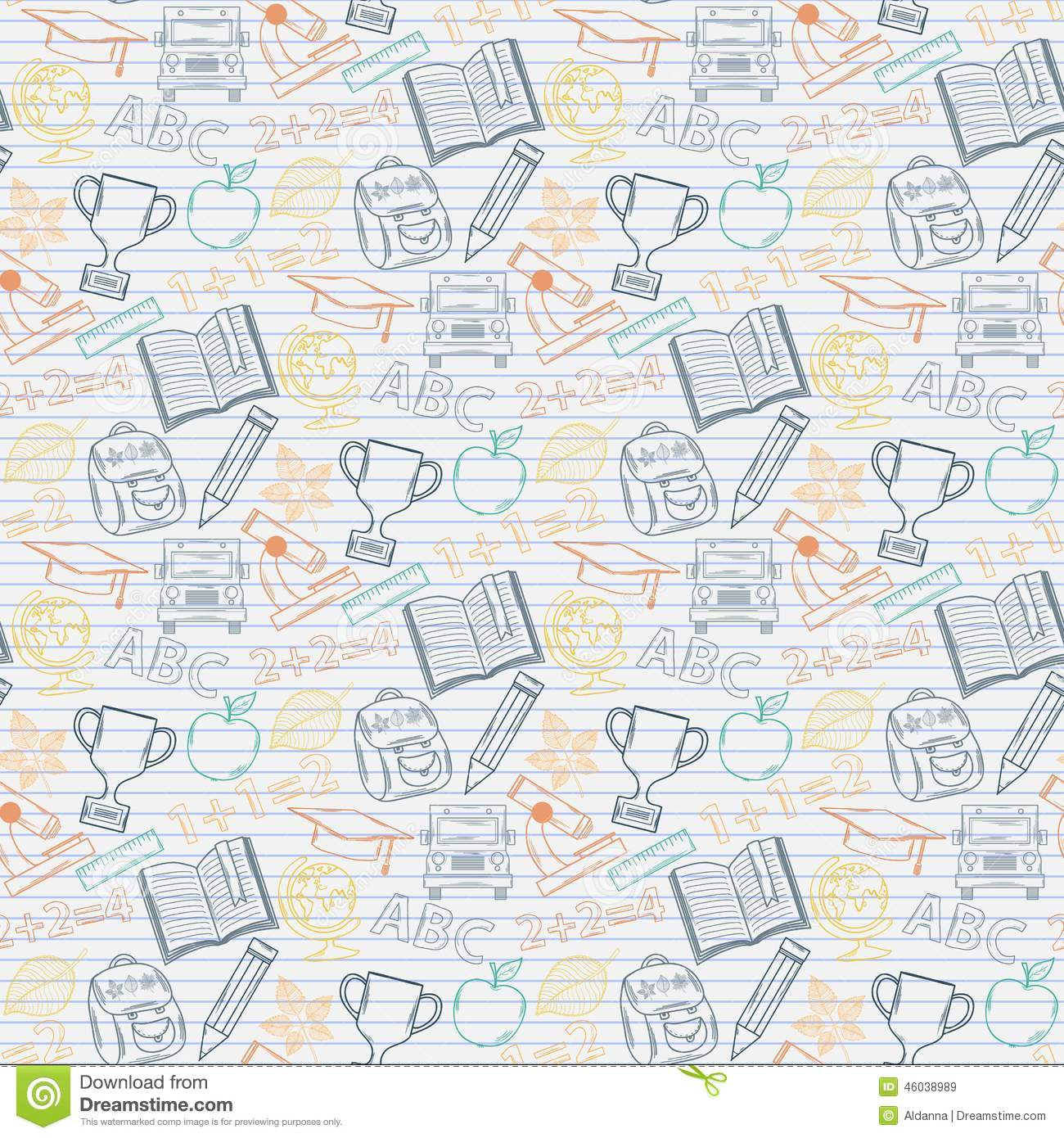Back To School Icons Education Seamless Pattern. Cartoon