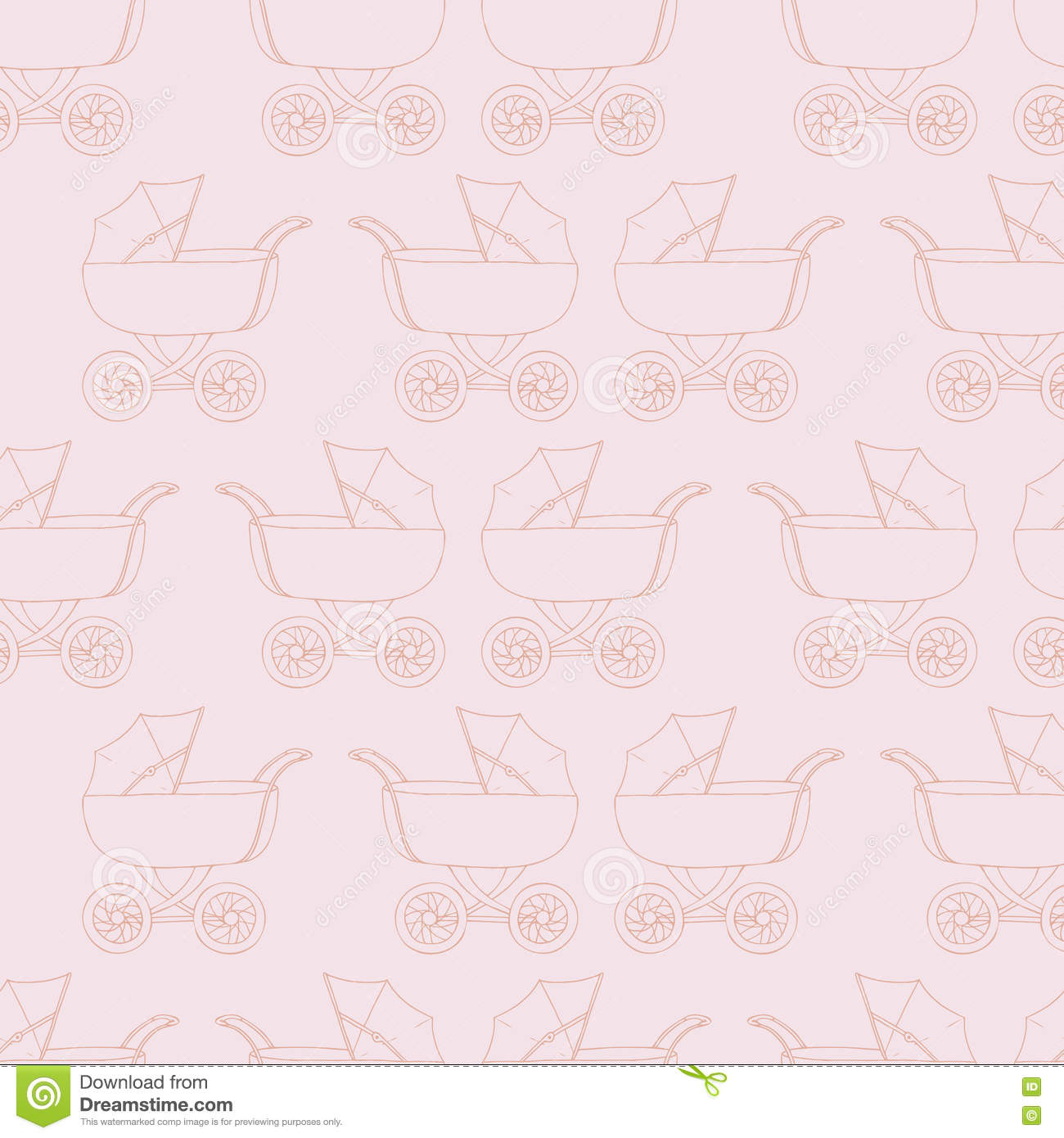 Seamless Pattern Background Baby Carriage For Doughter Girl Wallpaper Pink Textile Buggy Vector