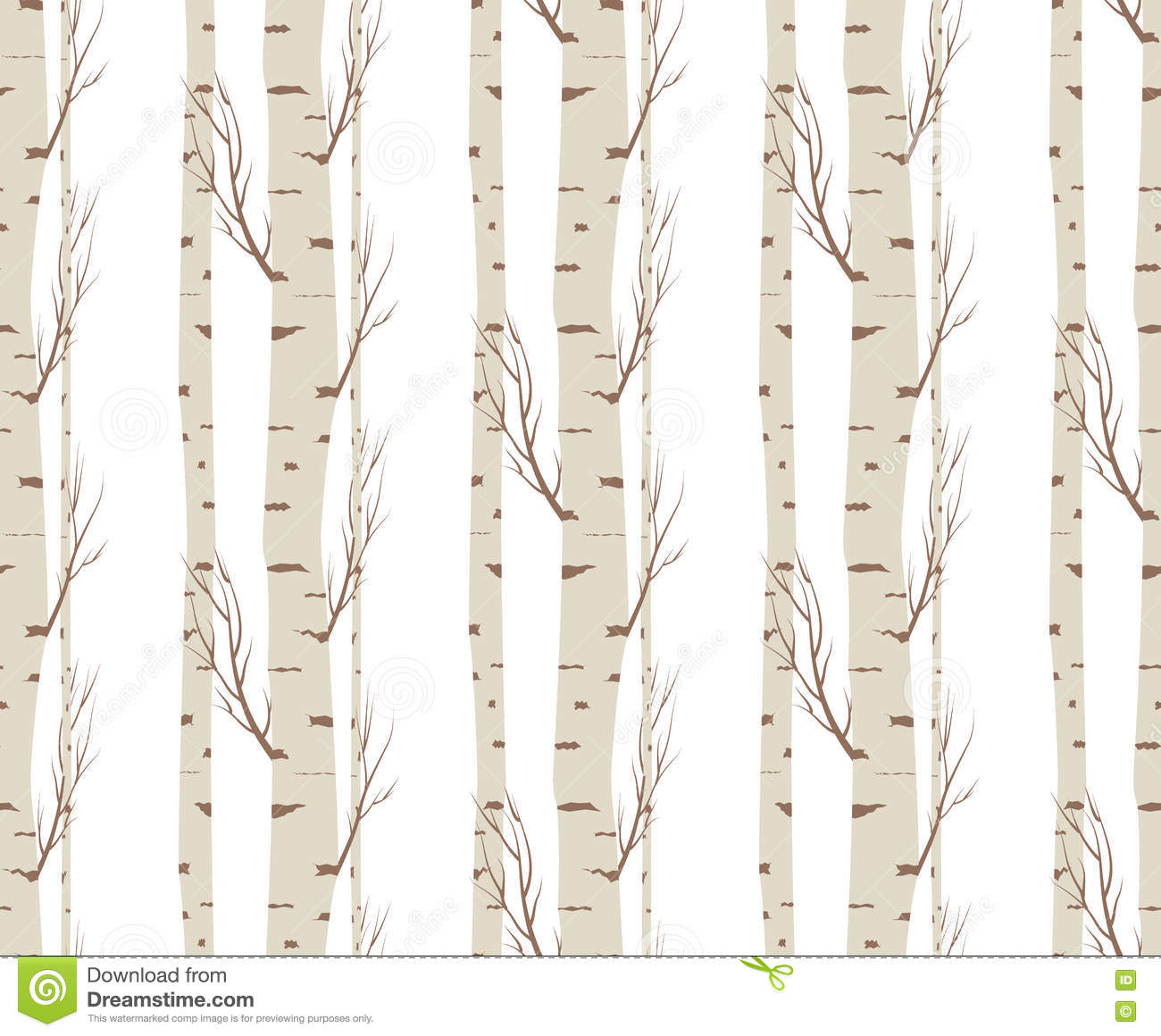Finest Seamless Pattern, Background With Birch Trees .textile, Fabrics Or  MG11