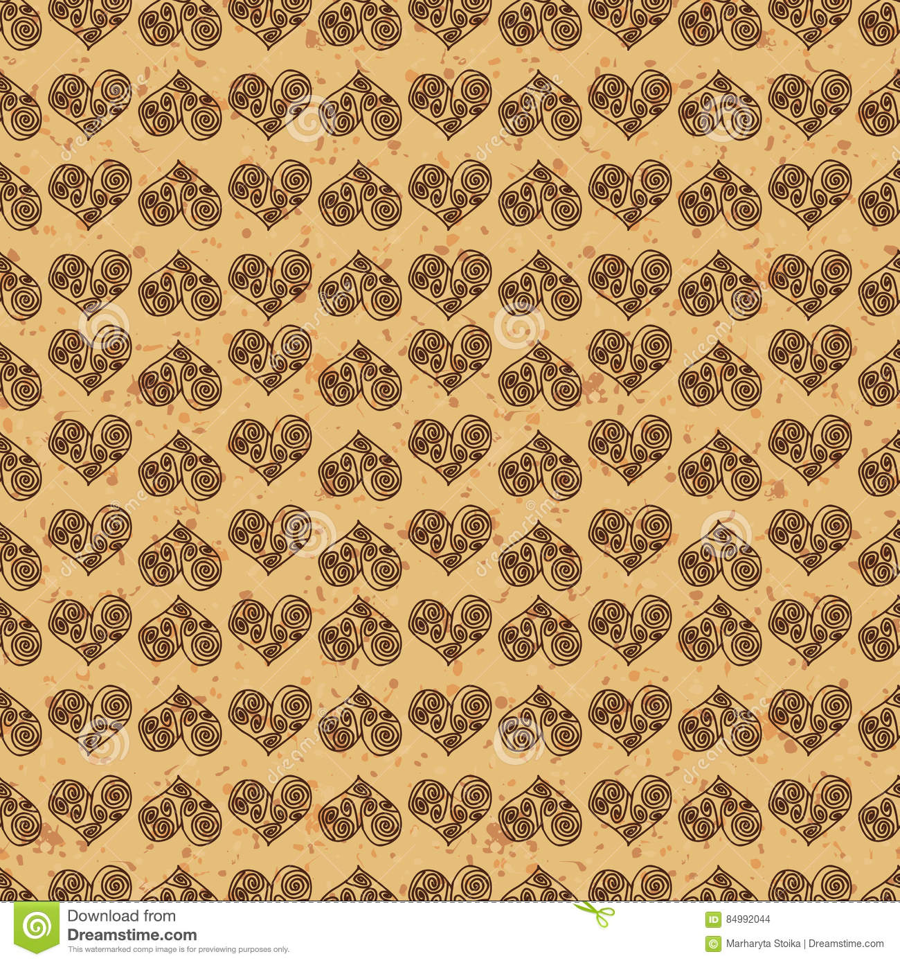 Seamless Pattern Background Brown Hearts On A Gold Ground Fondness
