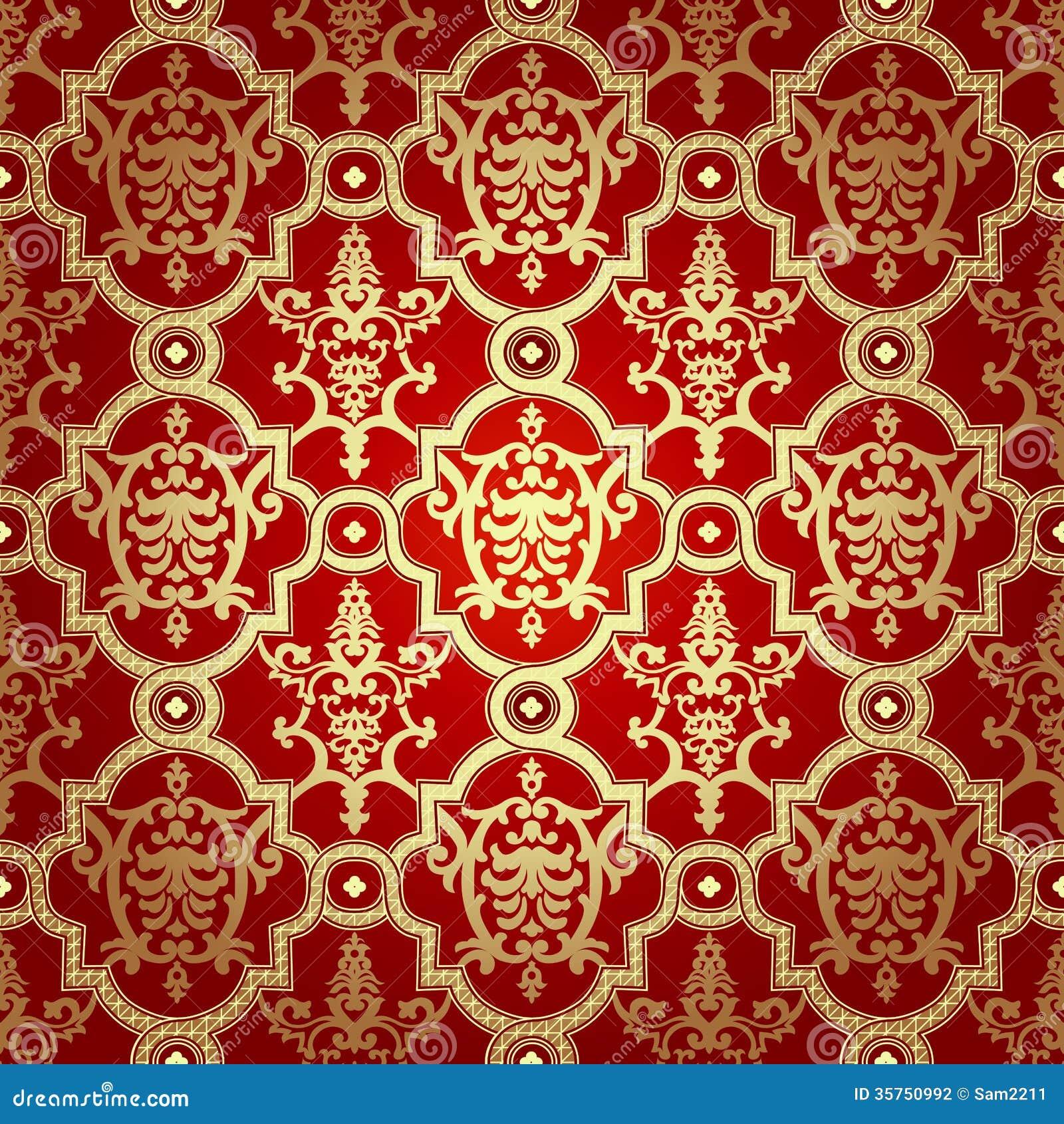 Seamless Pattern Background Damask Wallpaper Stock Photo