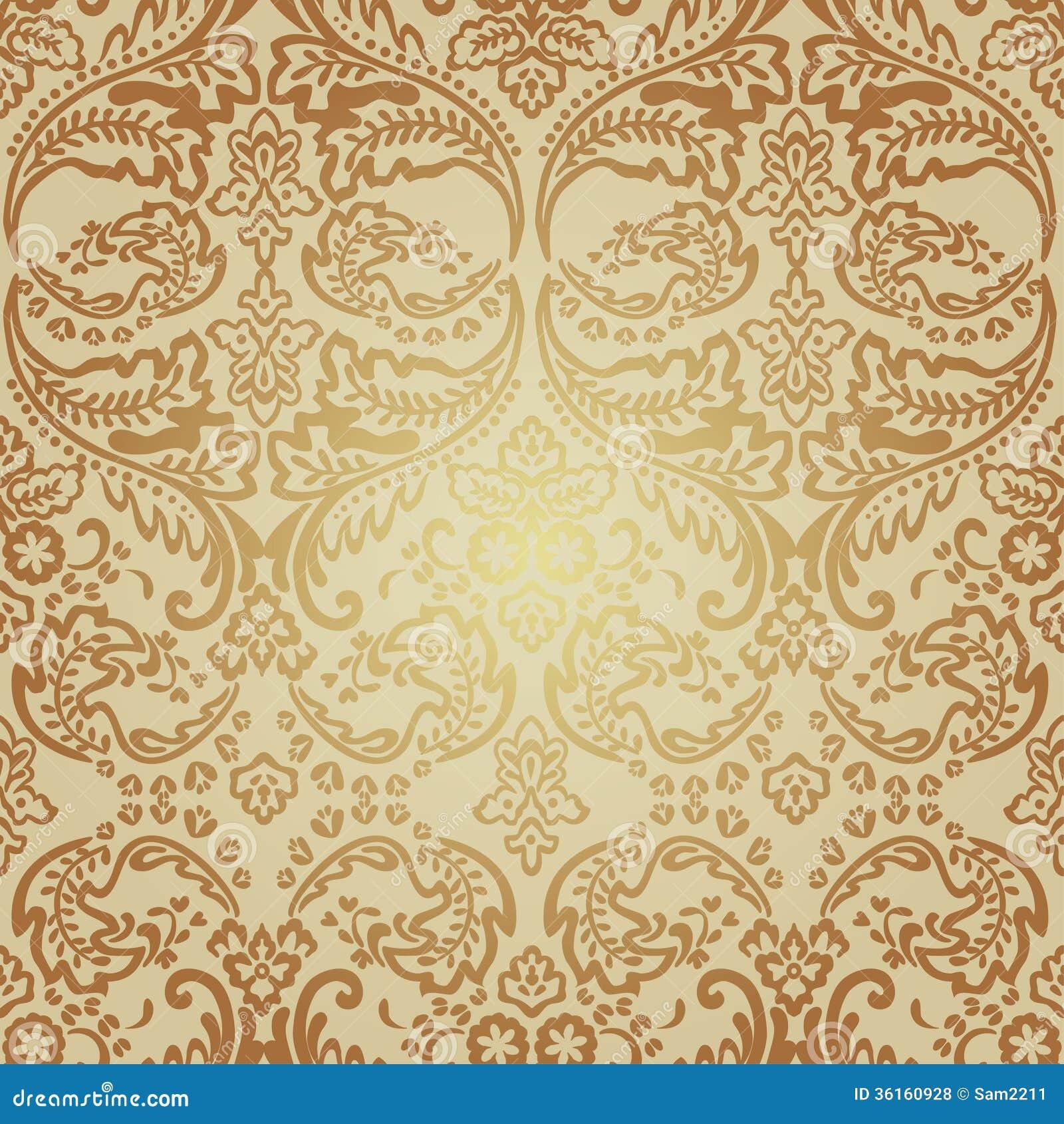 Versace Chair Seamless Pattern Background Damask Wallpaper Royalty Free