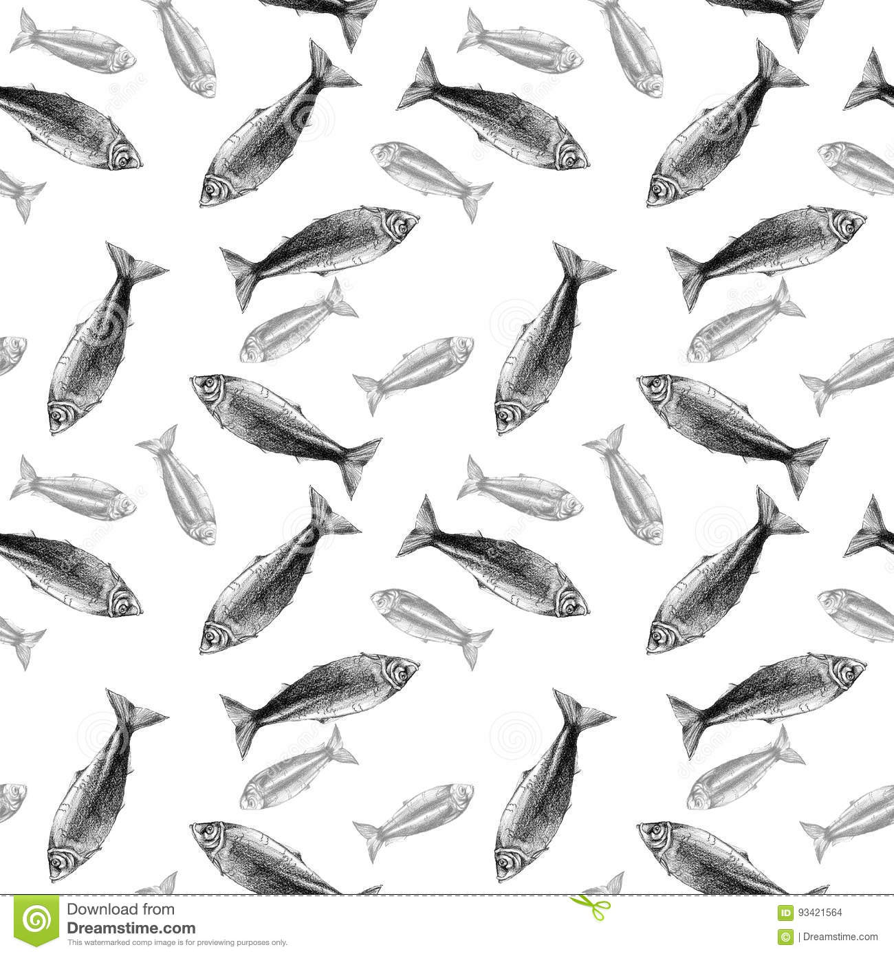 Seamless Pattern Background With Fish And Watercolor