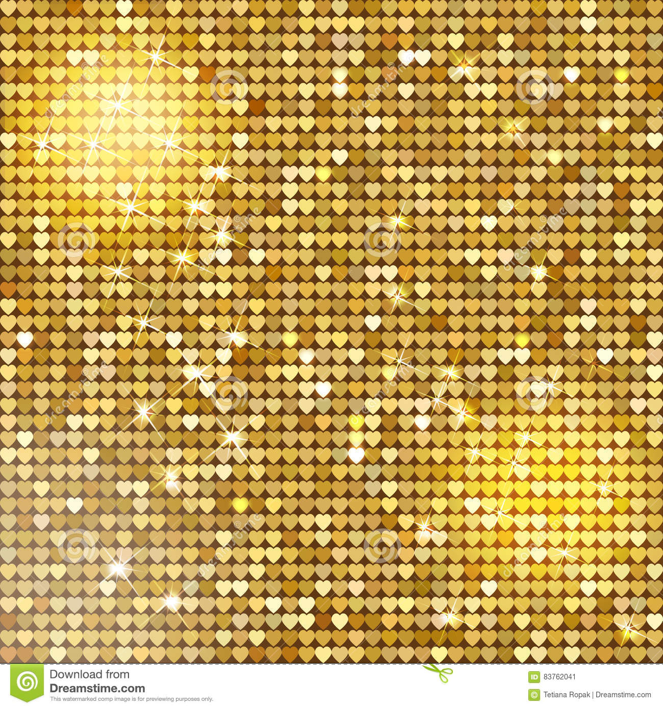 Seamless Pattern Background With Gold Glitter Hearts. Vector ...