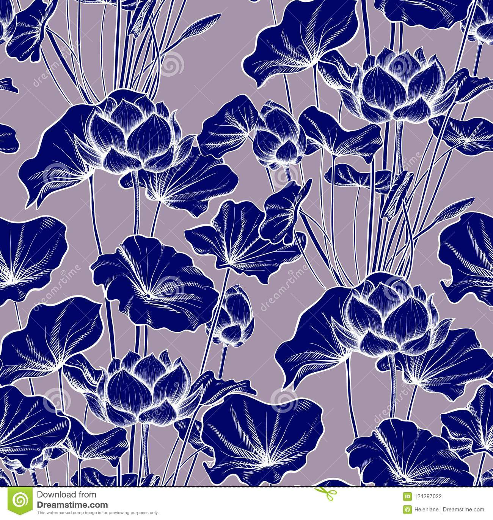Seamless pattern, background with lotus flower. Botanical illustration style.
