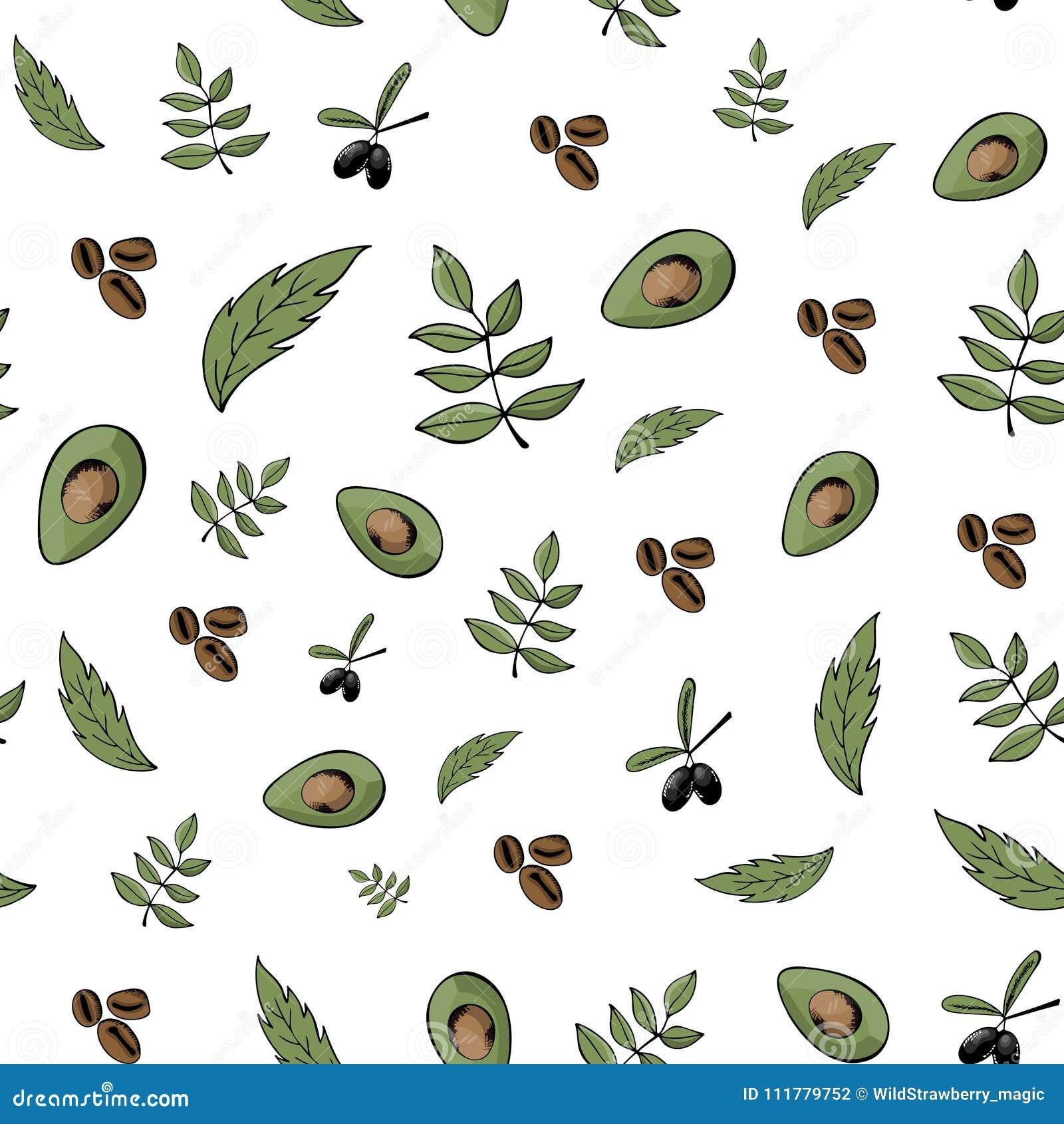 Seamless pattern, background, organic food, natural products, bi