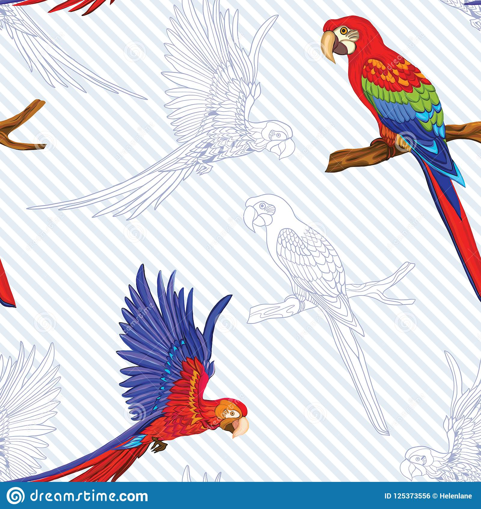 Seamless Pattern Background With Birds Vector Illustration Stock Vector Illustration Of Drawing Realism 125373556