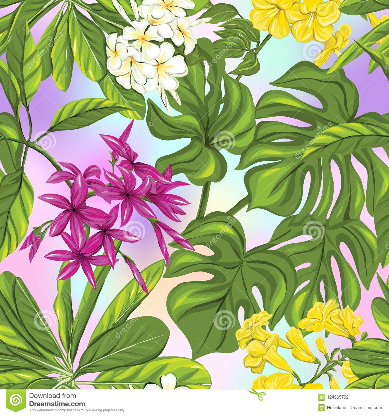 Seamless pattern, background with tropical plants: monstera, strelitzia, bougainvillea,
