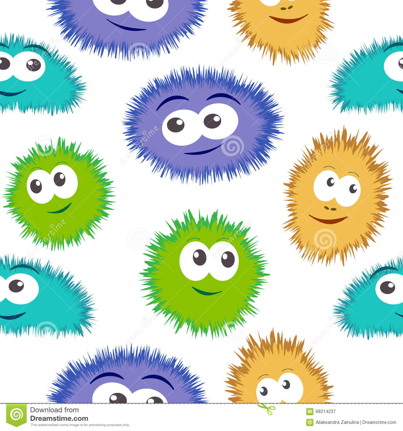 seamless pattern bacteria with colorful monster face vector background with cartoon funny germs