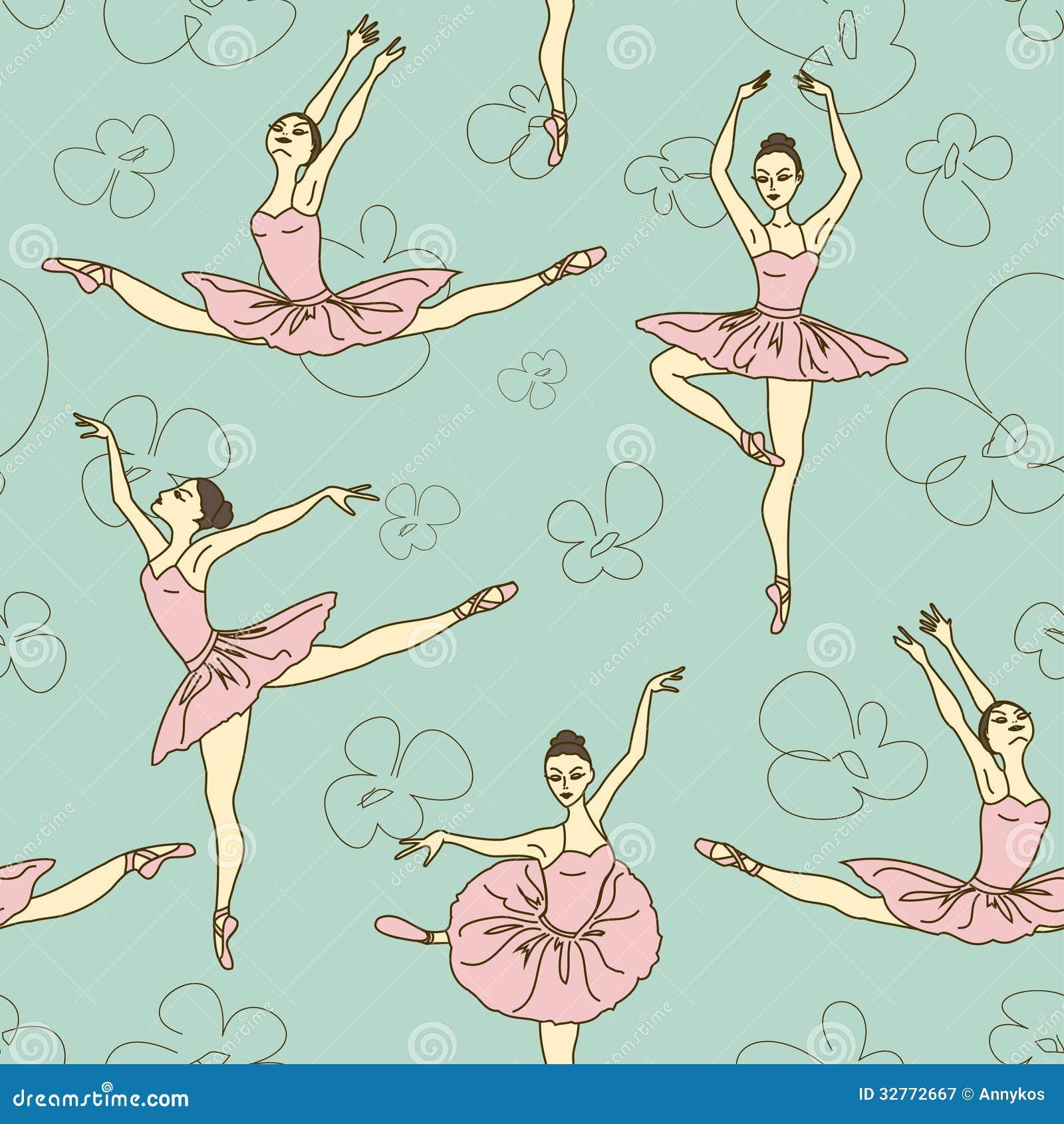 Seamless pattern of ballet dancers royalty free stock photography - Royalty Free Stock Photo Ballet Pattern Seamless