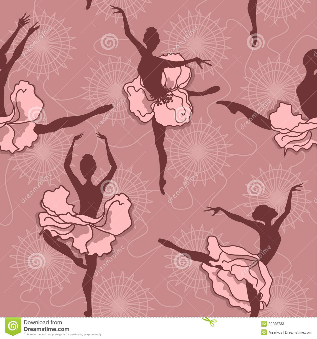 Seamless pattern of ballet dancers royalty free stock photography - Seamless Pattern Of Ballet Dancers Stock Photos