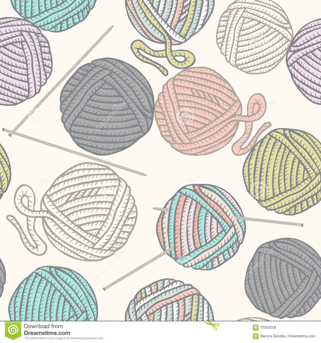 Cartoon Knitting Needles : Seamless pattern with balls of yarn and knitting needles