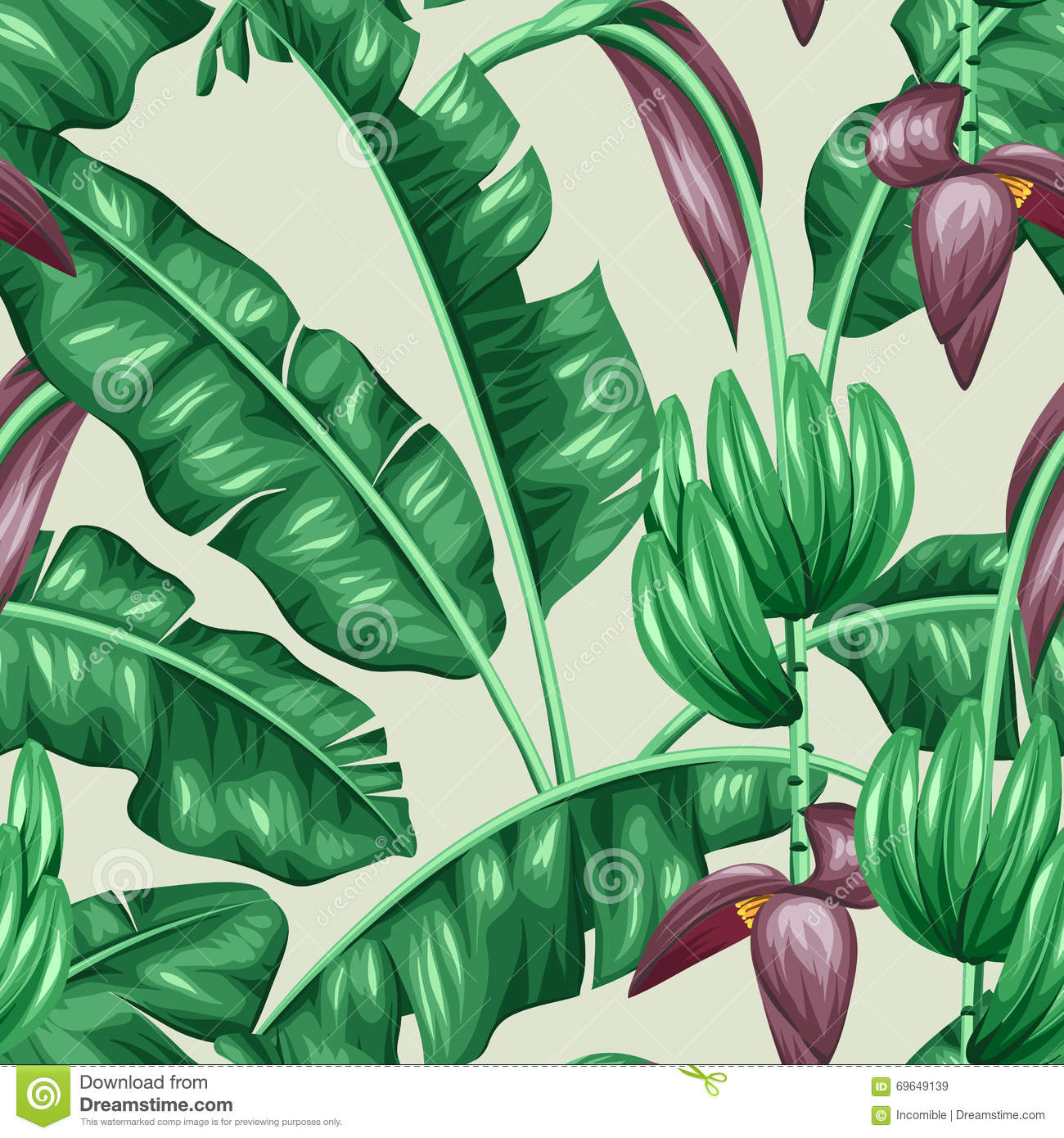 seamless pattern with banana leaves  decorative image of