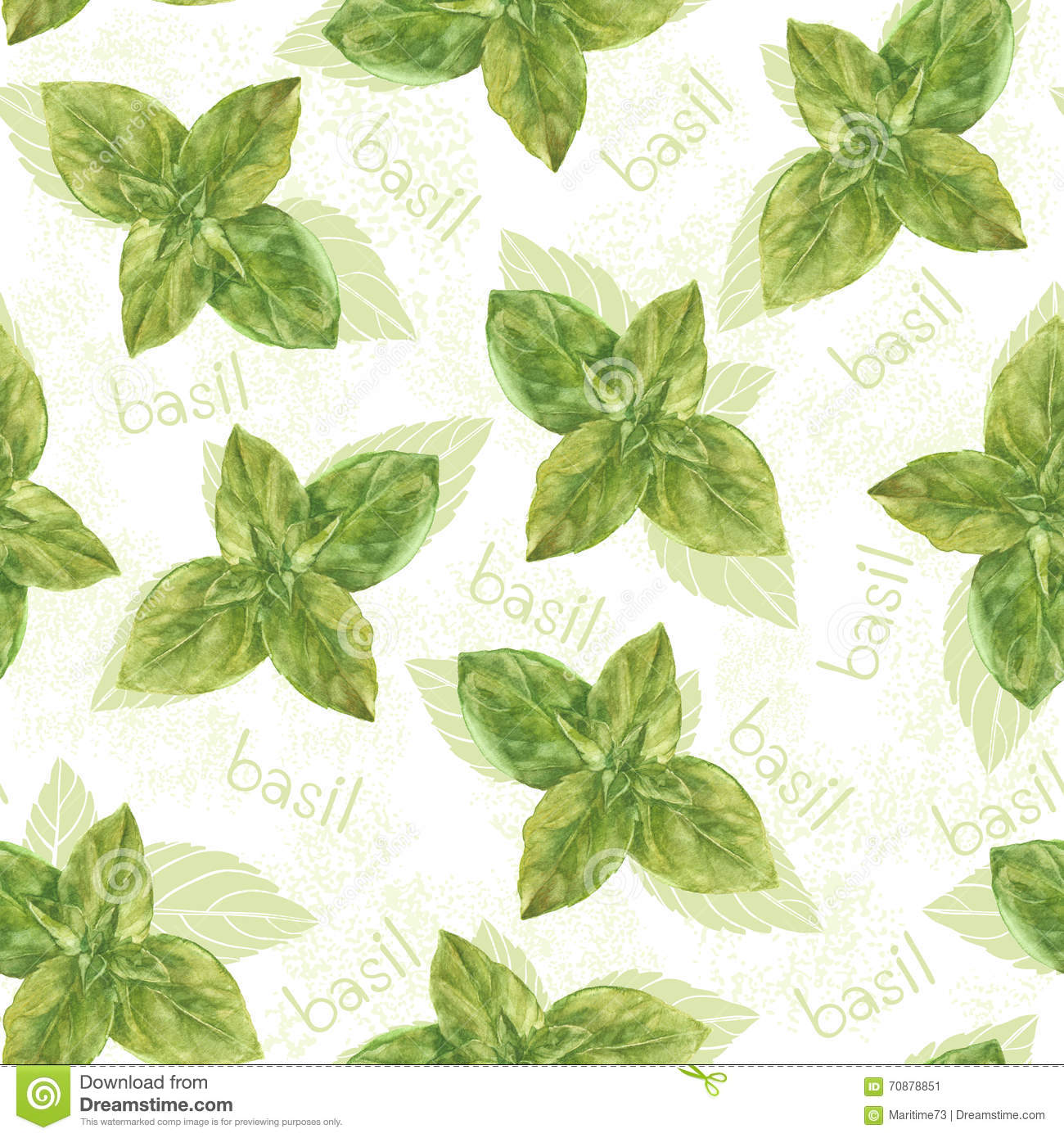 Download seamless pattern with basil hand drawn floral background mono stock illustration