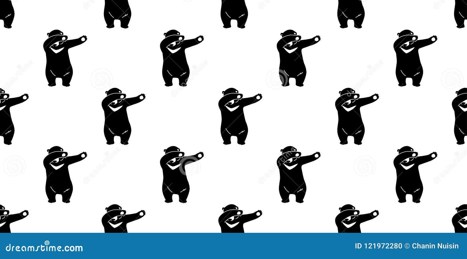 Seamless pattern bear polar bear dab dance vector isolated wallpaper background