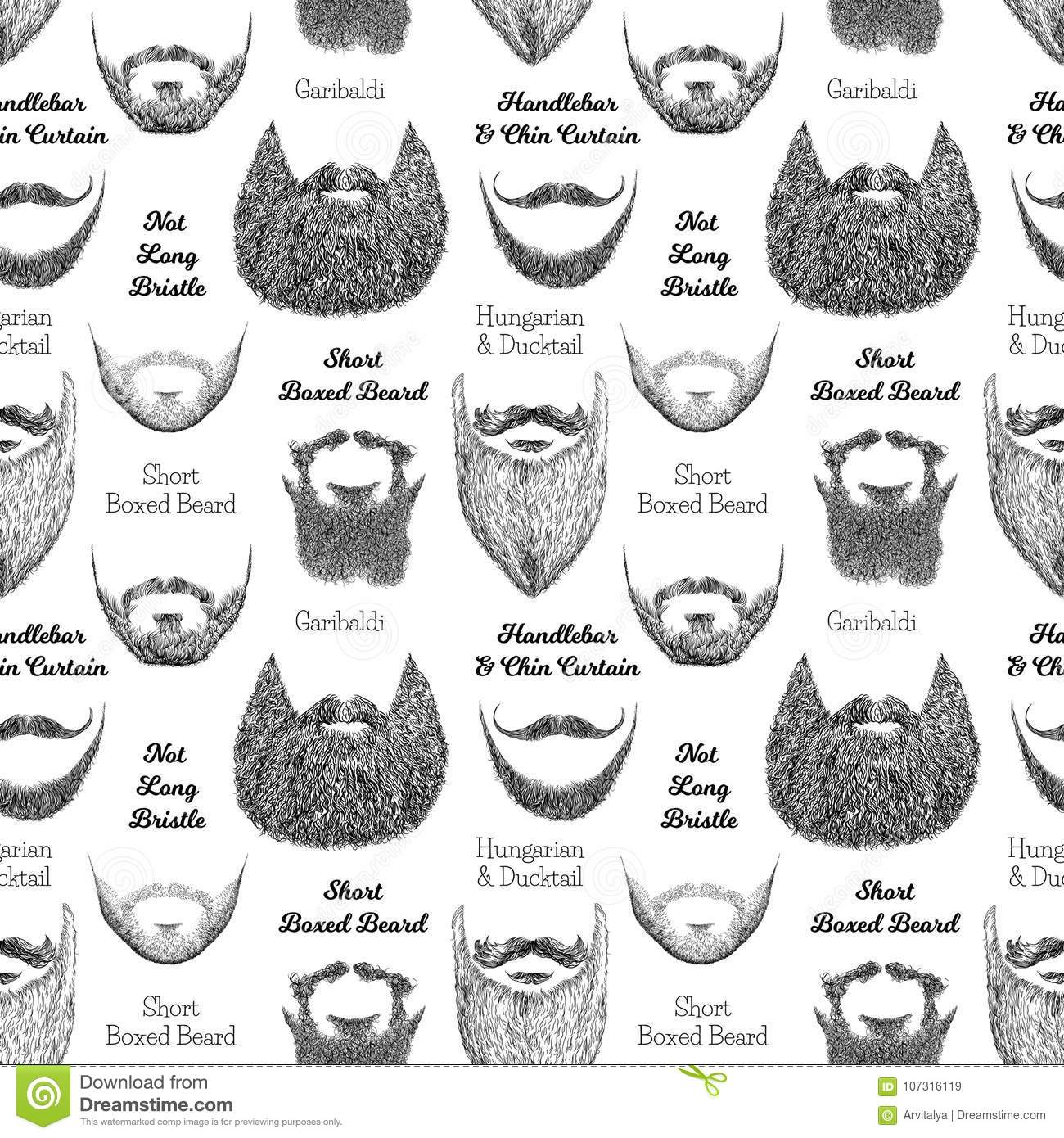 Strange Seamless Pattern With Beards And Mustaches Stock Illustration Natural Hairstyles Runnerswayorg