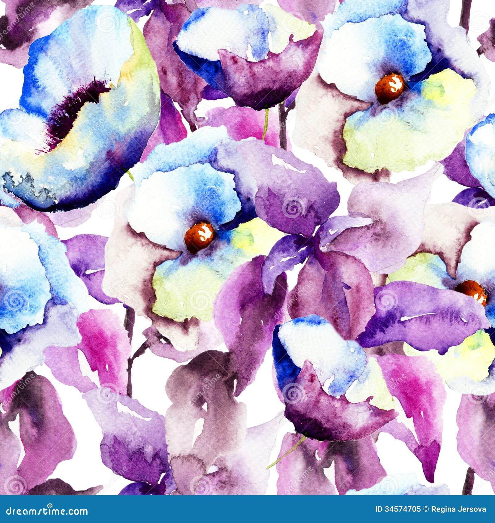 Seamless Pattern With Beautiful Blue Flowers