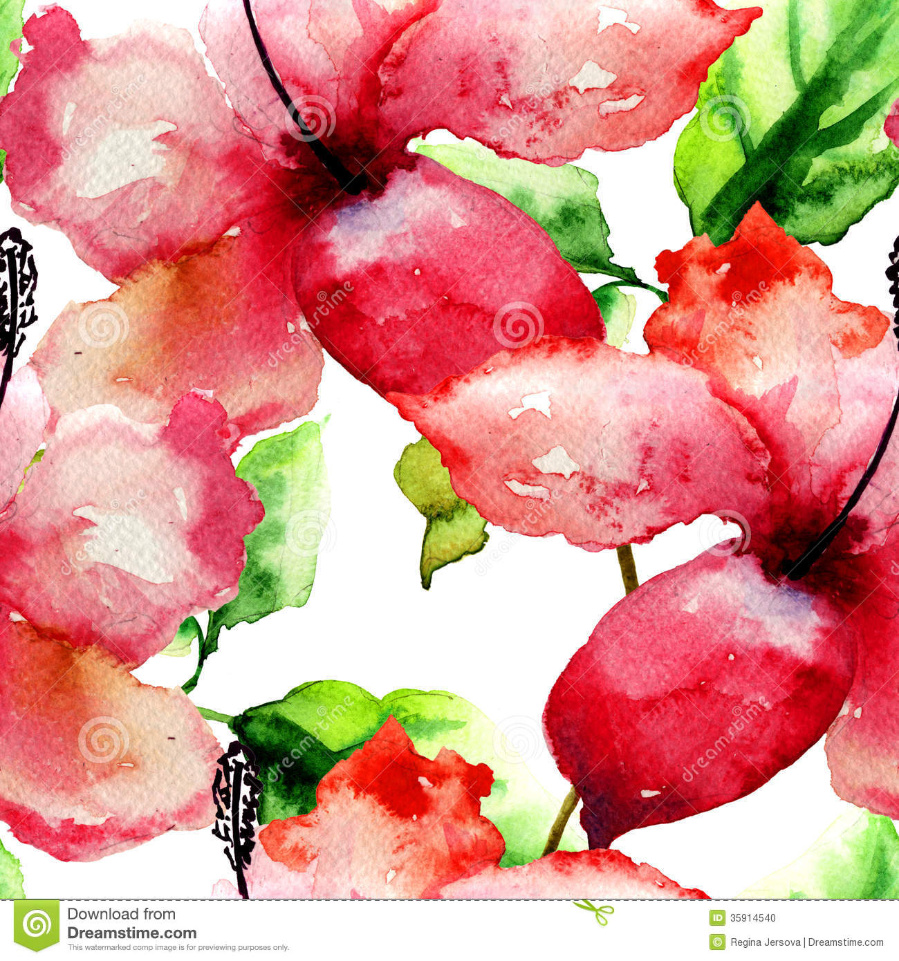 Seamless pattern with Beautiful Lily flower, watercolor illustration.
