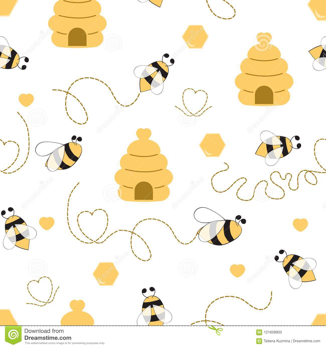 Seamless Pattern With Bee Honey Hive In Vector Cartoon Children Style Yellow