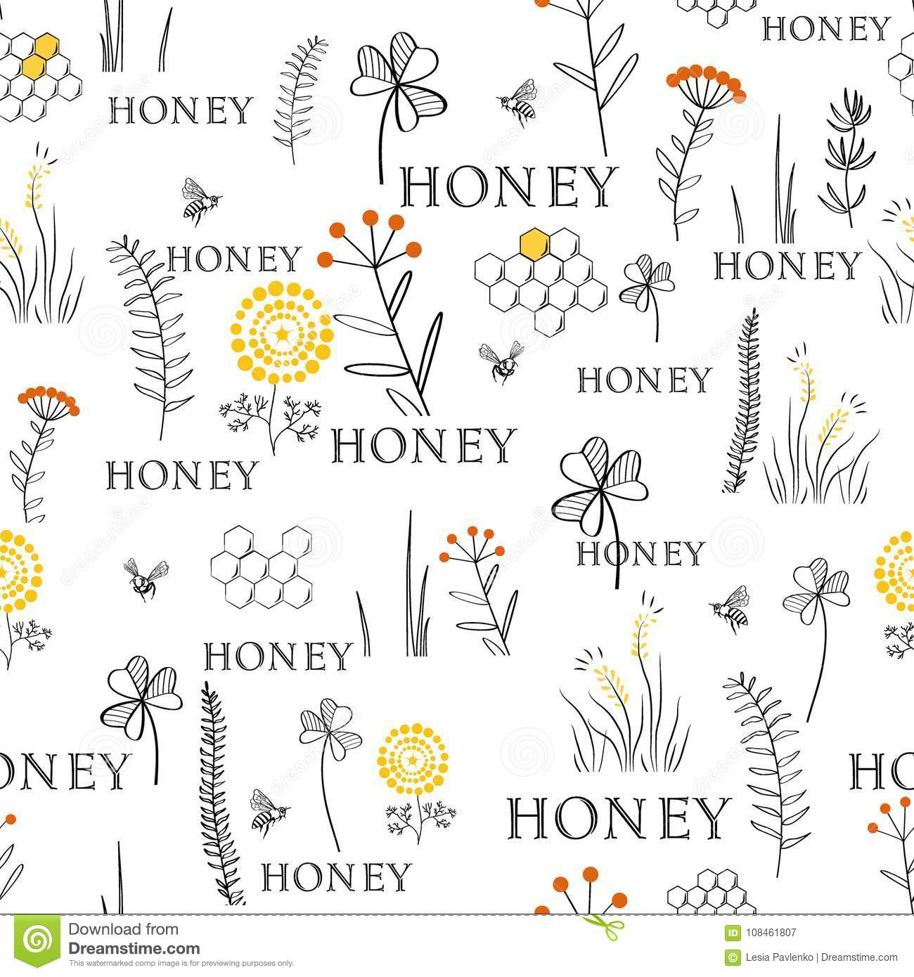 Seamless Pattern With Bees And Flowers Hand Drawn Vintage Graphic