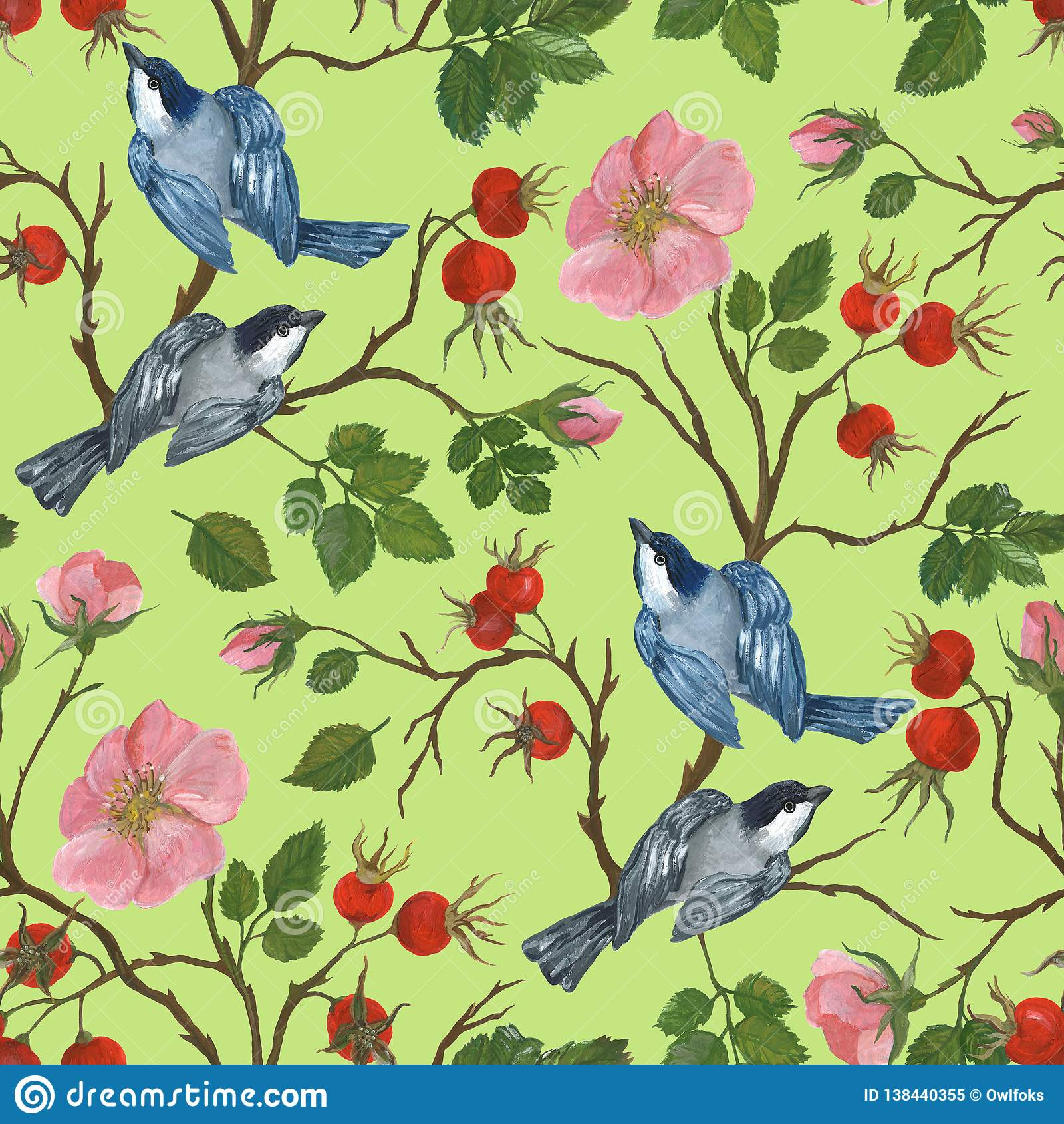 Seamless pattern of a birds on a branch of a dogrose, illustration by paints