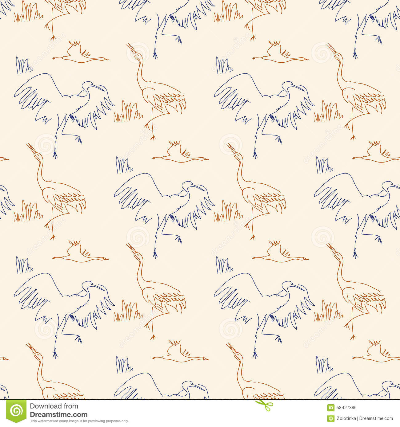 Contour Line Drawing Bird : Seamless pattern with birds stock illustration image