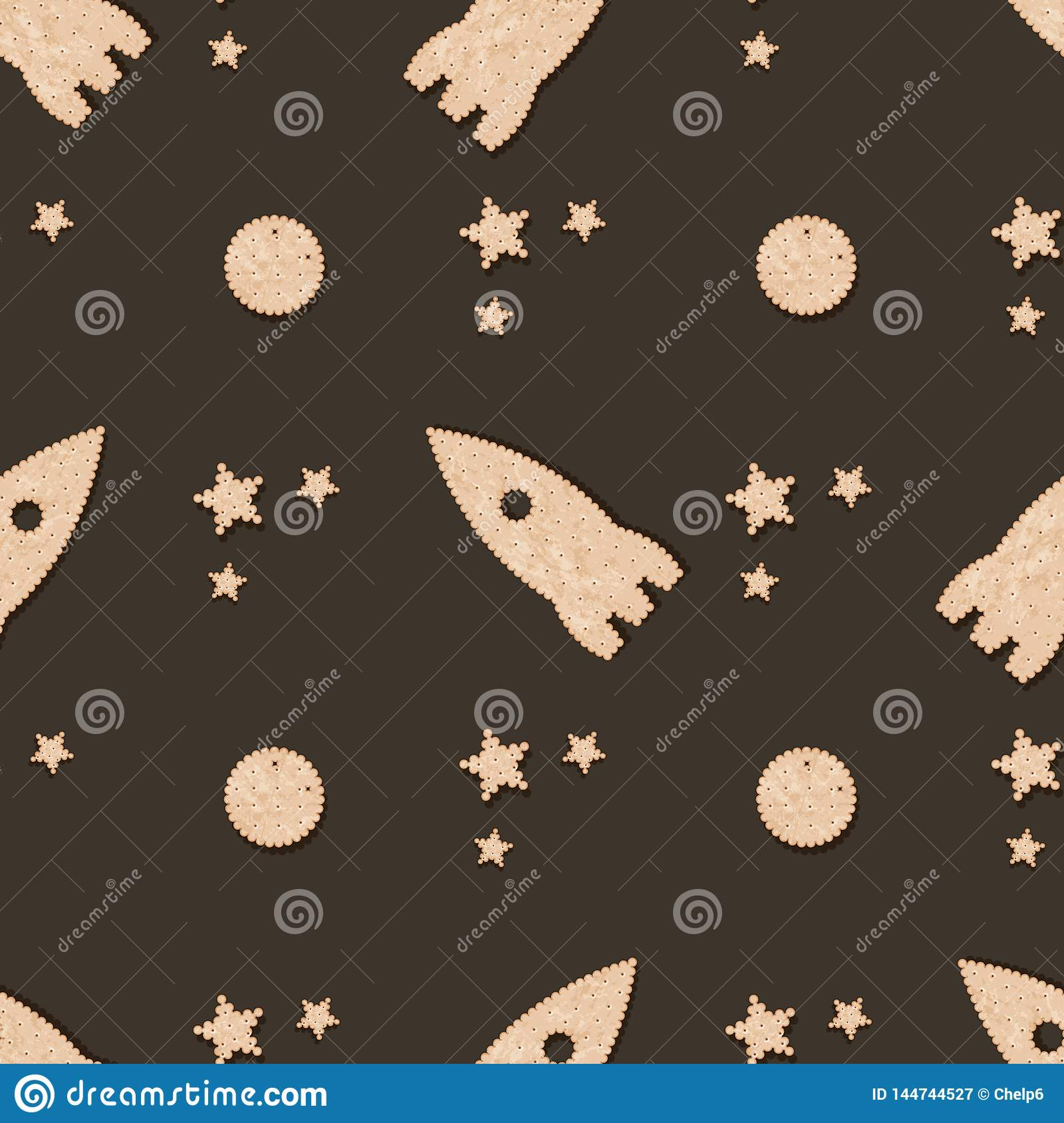 Seamless pattern with Biscuit cookie cracker. Rocket, moon and star cracker-shaped cookies